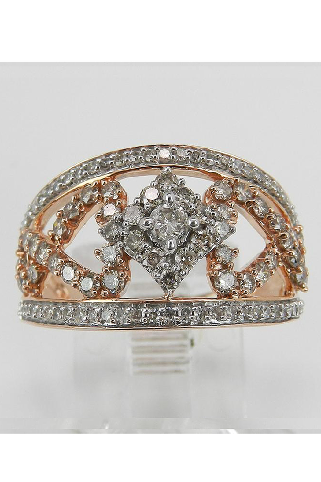 Margolin & Co 1.00 ct Diamond Cluster Heart Cocktail Ring Statement Band Rose Pink Gold Size 7.25 - Back Cropped Image