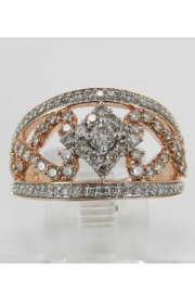 Margolin & Co 1.00 ct Diamond Cluster Heart Cocktail Ring Statement Band Rose Pink Gold Size 7.25 - Back cropped