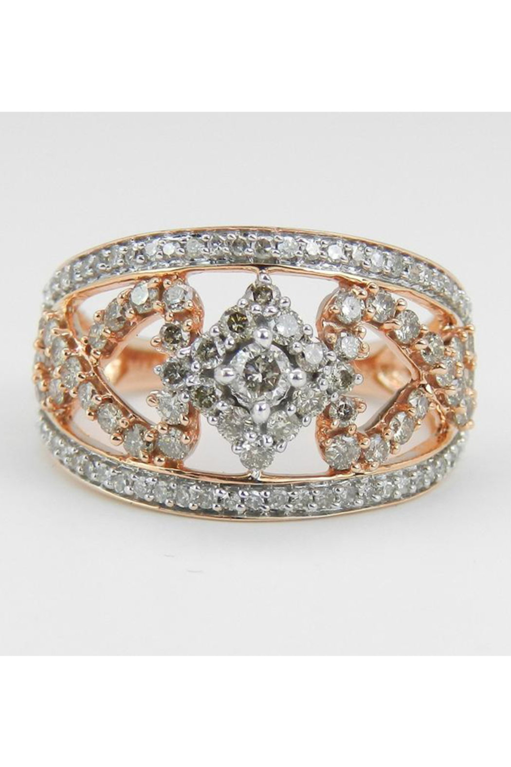 Margolin & Co 1.00 ct Diamond Cluster Heart Cocktail Ring Statement Band Rose Pink Gold Size 7.25 - Main Image