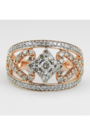 Margolin & Co 1.00 ct Diamond Cluster Heart Cocktail Ring Statement Band Rose Pink Gold Size 7.25 - Product Mini Image