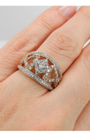 Margolin & Co 1.00 ct Diamond Cluster Heart Cocktail Ring Statement Band Rose Pink Gold Size 7.25 - Other