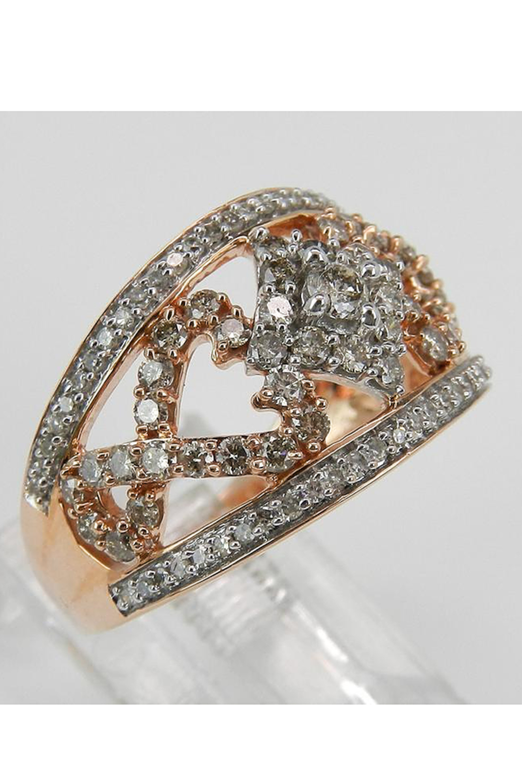 Margolin & Co 1.00 ct Diamond Cluster Heart Cocktail Ring Statement Band Rose Pink Gold Size 7.25 - Front Full Image