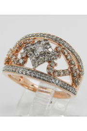 Margolin & Co 1.00 ct Diamond Cluster Heart Cocktail Ring Statement Band Rose Pink Gold Size 7.25 - Side cropped