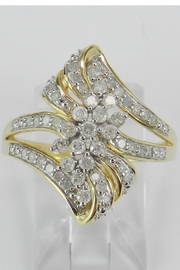 Margolin & Co 1/2 carat Diamond Cluster Cocktail Ring Right Hand Ring Yellow Gold Size 7 - Product Mini Image