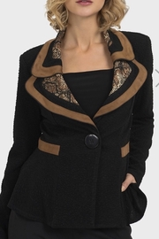 Joseph Ribkoff  A line, flair bottom,textured1 button black jacket with faux suede and animal print on double lapel .Faux suede also at waist. Very stylish. - Product Mini Image