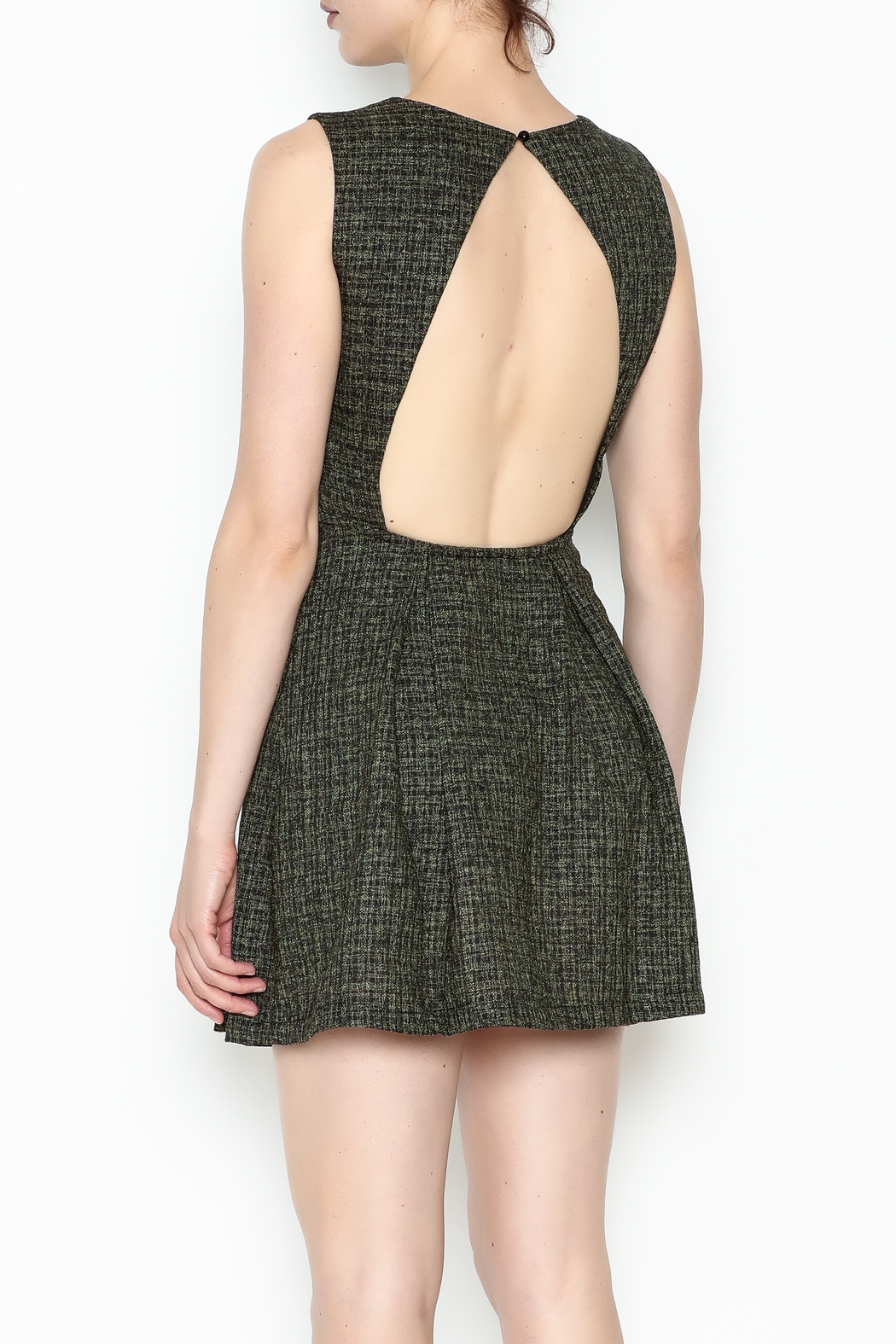 1 Funky Black Pleated Dress - Back Cropped Image