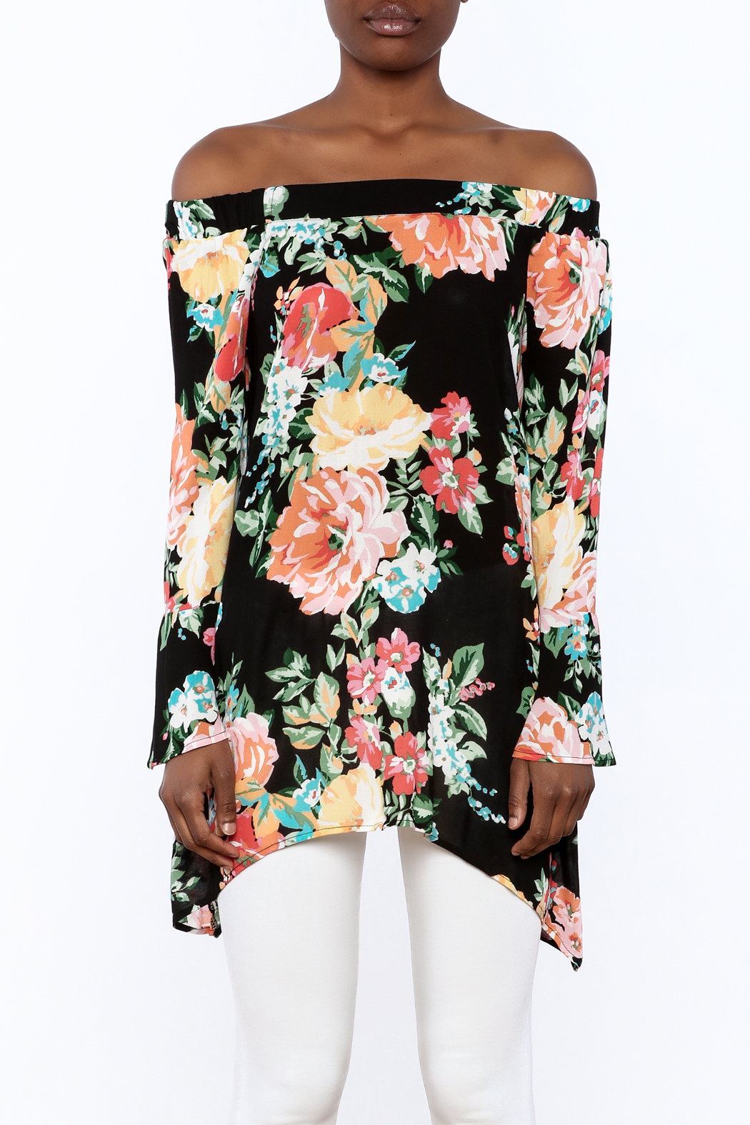 1 Funky Floral Off-Shoulder Top - Side Cropped Image