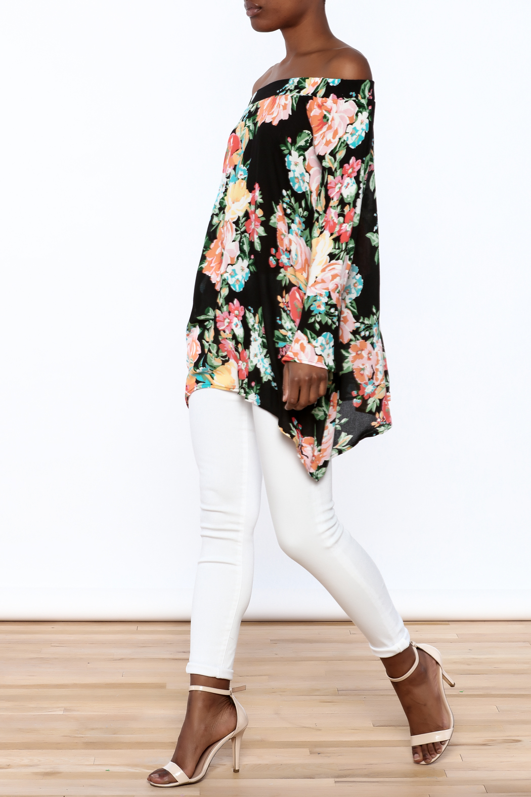 1 Funky Floral Off-Shoulder Top - Front Full Image