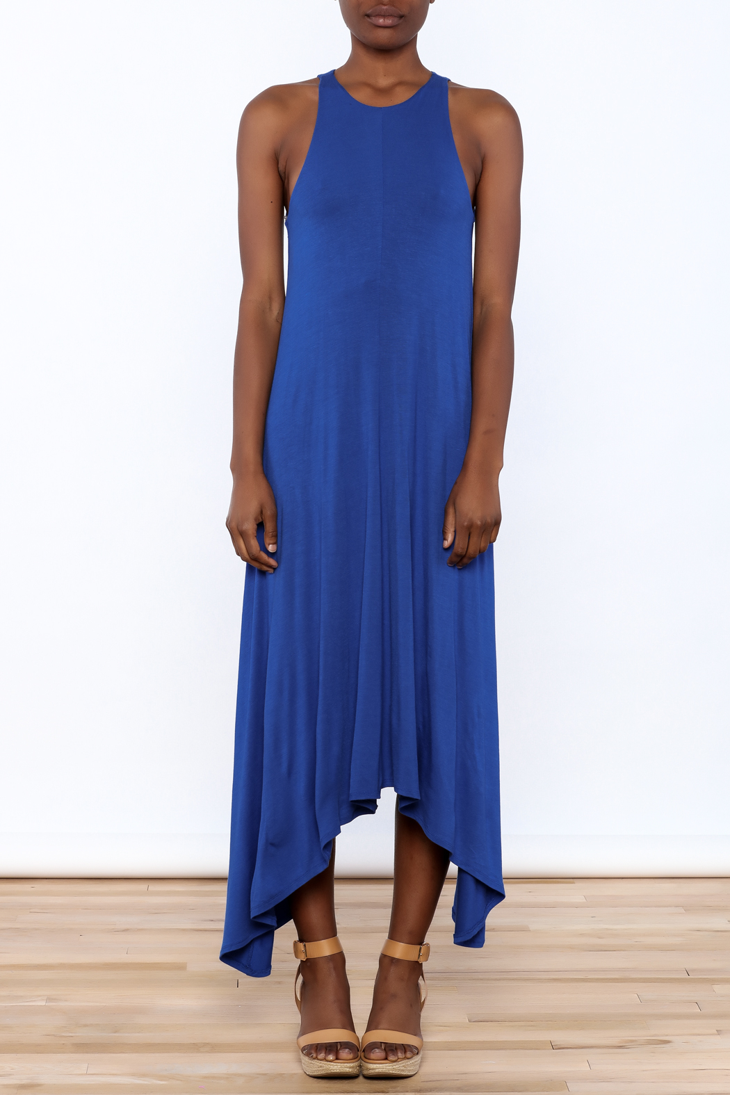 1 Funky Blue Midi Dress - Front Cropped Image