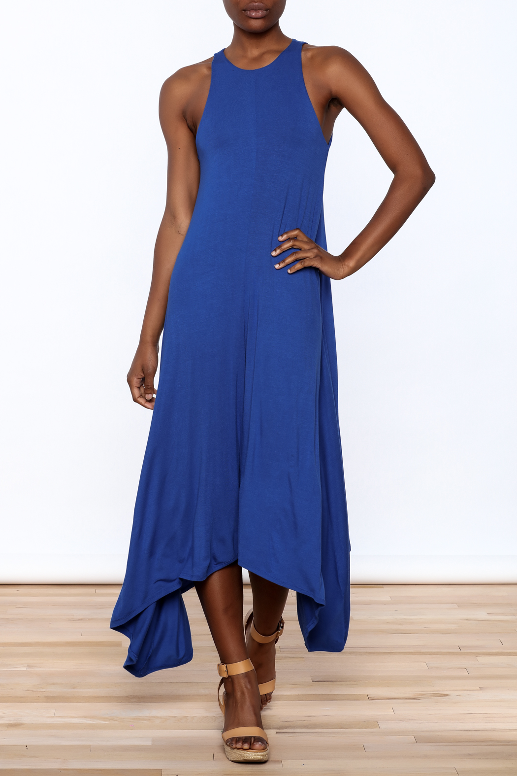 1 funky blue midi dress from california by yuni shoptiques