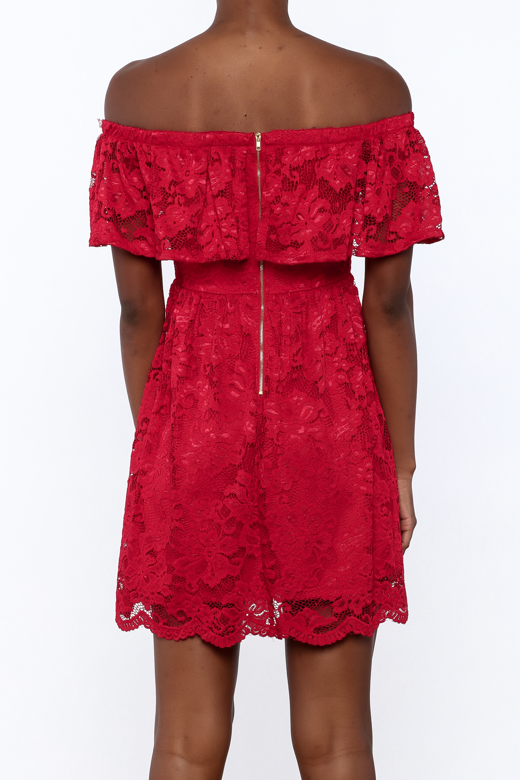 1 Funky Red Lace Dress - Back Cropped Image