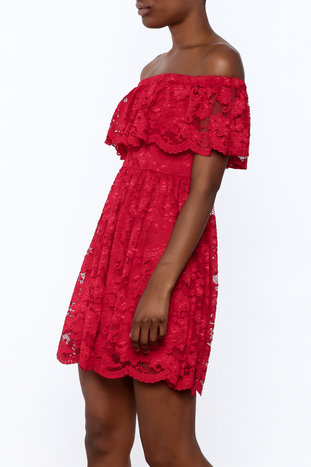 1 Funky Red Lace Dress - Main Image