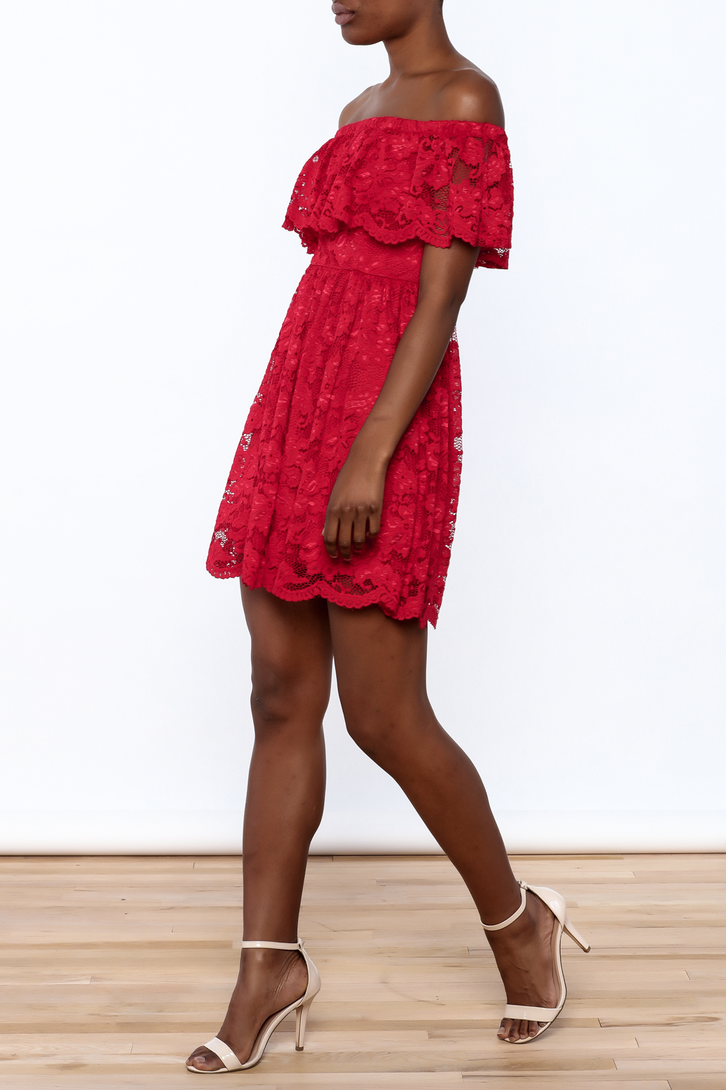 1 Funky Red Lace Dress - Front Full Image