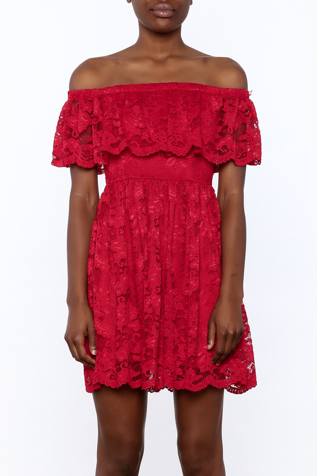 1 Funky Red Lace Dress - Side Cropped Image