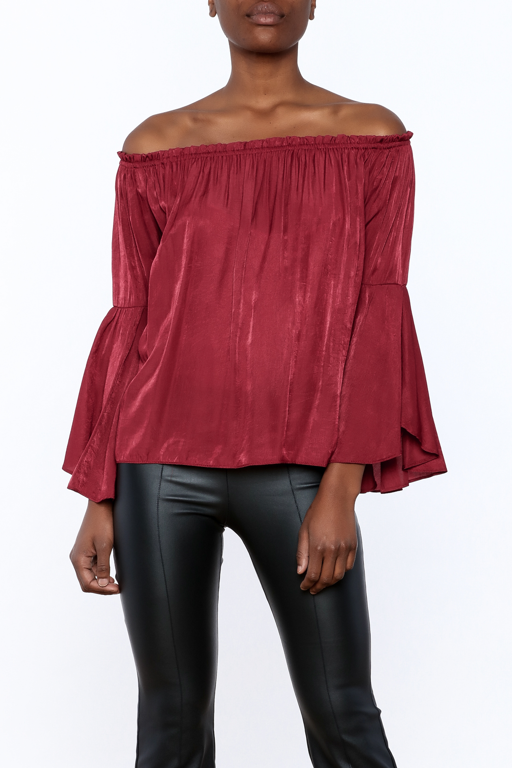 1 Funky Off-Shoulder Flowy Top - Front Cropped Image
