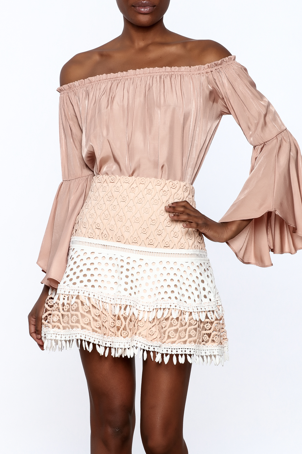 1 Funky Off-Shoulder Flowy Top - Main Image