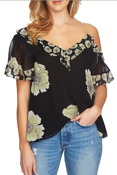 1.State Printed Shouldercut Blouse - Product List Image