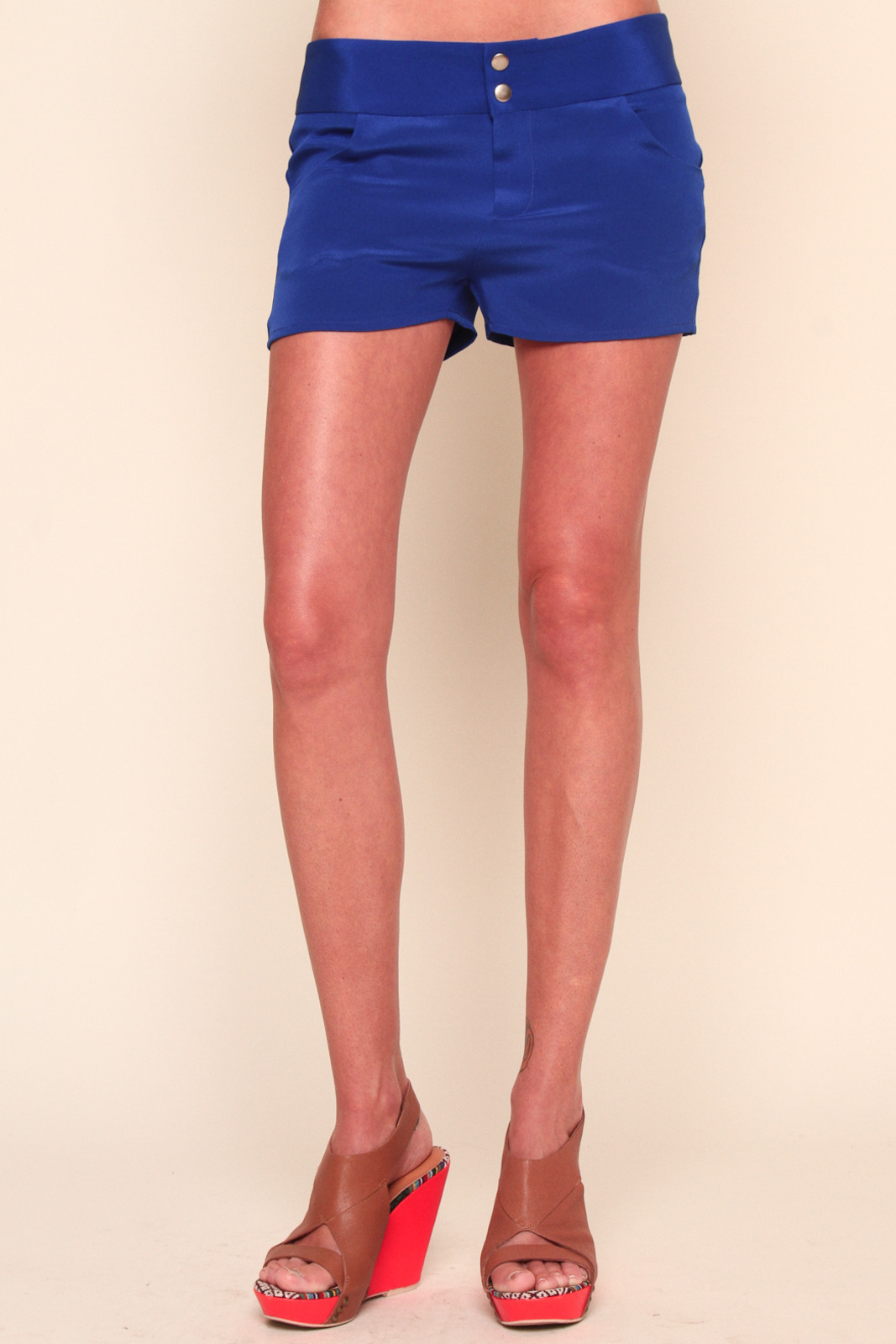 annabelle Blue Bright Silk Shorts - Front Cropped Image