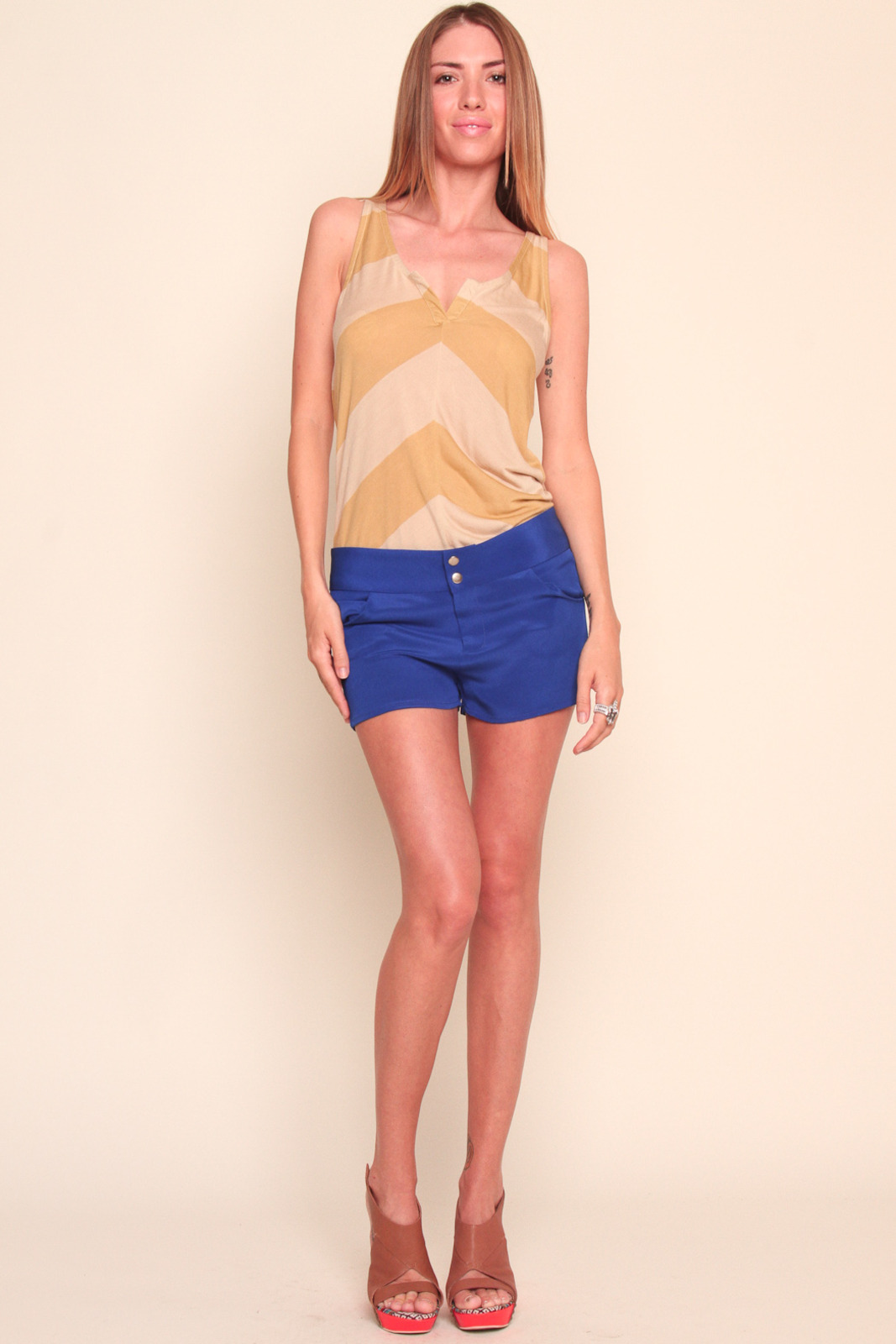 annabelle Blue Bright Silk Shorts - Front Full Image