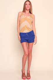 annabelle Blue Bright Silk Shorts - Front full body