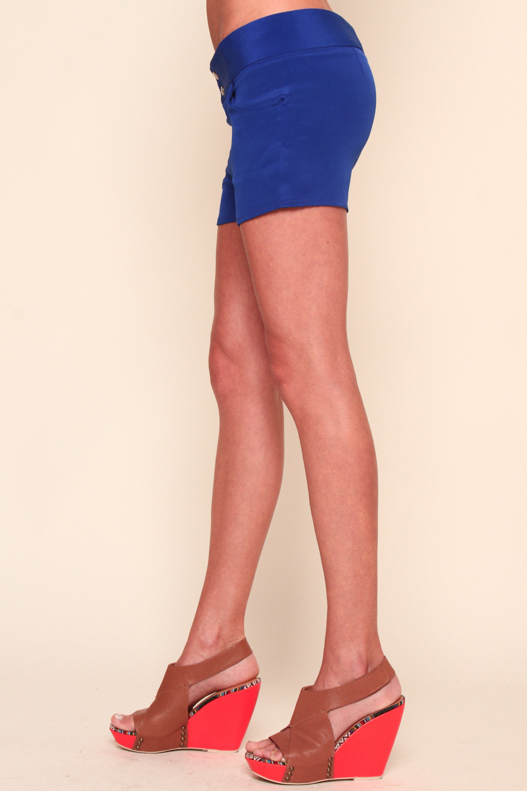 annabelle Blue Bright Silk Shorts - Side Cropped Image
