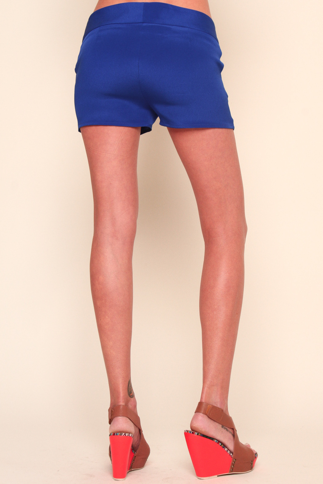 annabelle Blue Bright Silk Shorts - Back Cropped Image