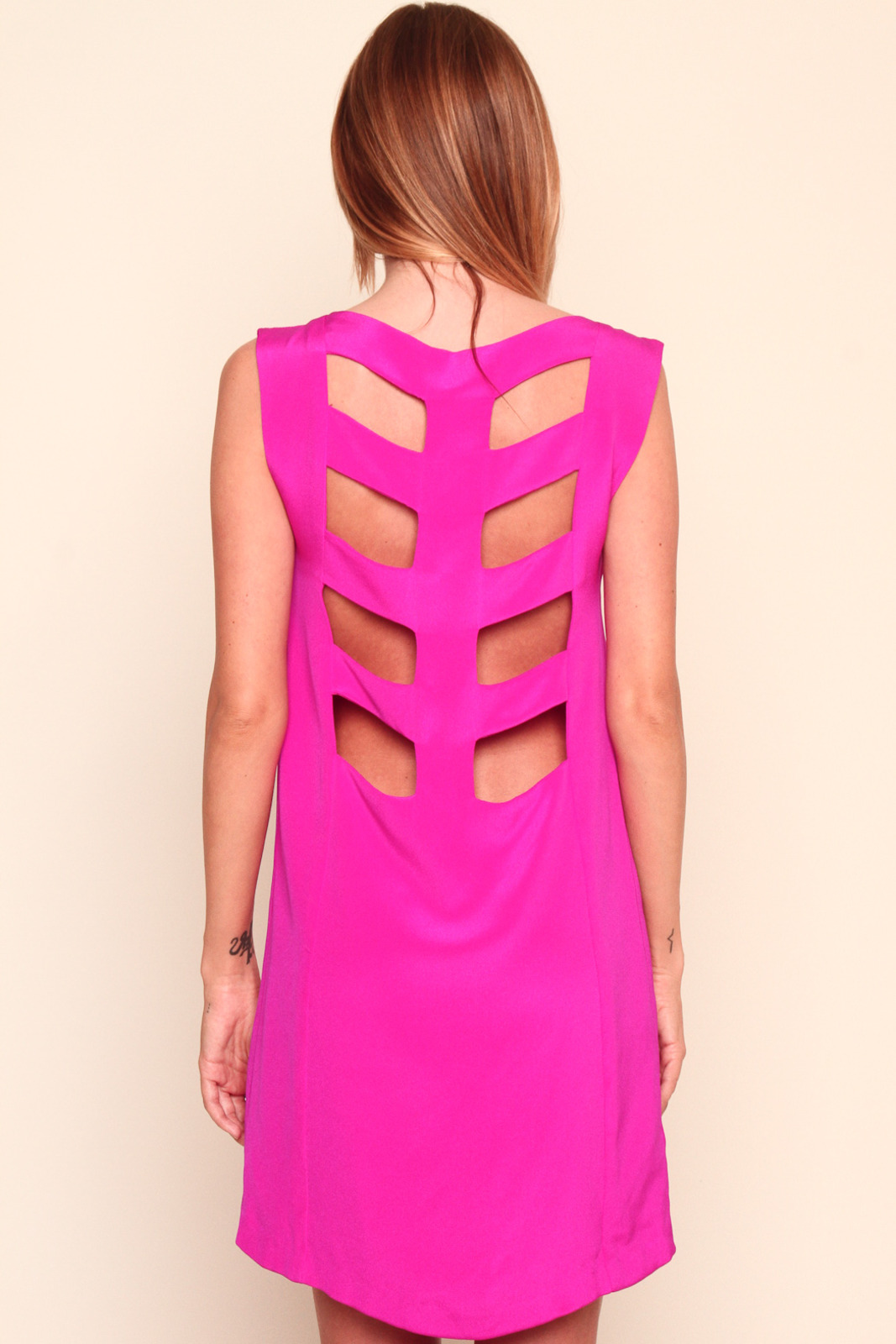 annabelle Pink Skeleton Dress - Back Cropped Image