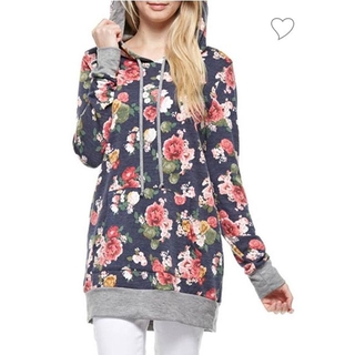 Shoptiques  Heather Grey and Floral Hoodie