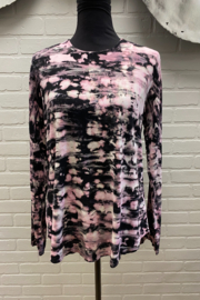 Annie Turbin Crew Neck Tie Dye Top Pink and Black - Product Mini Image
