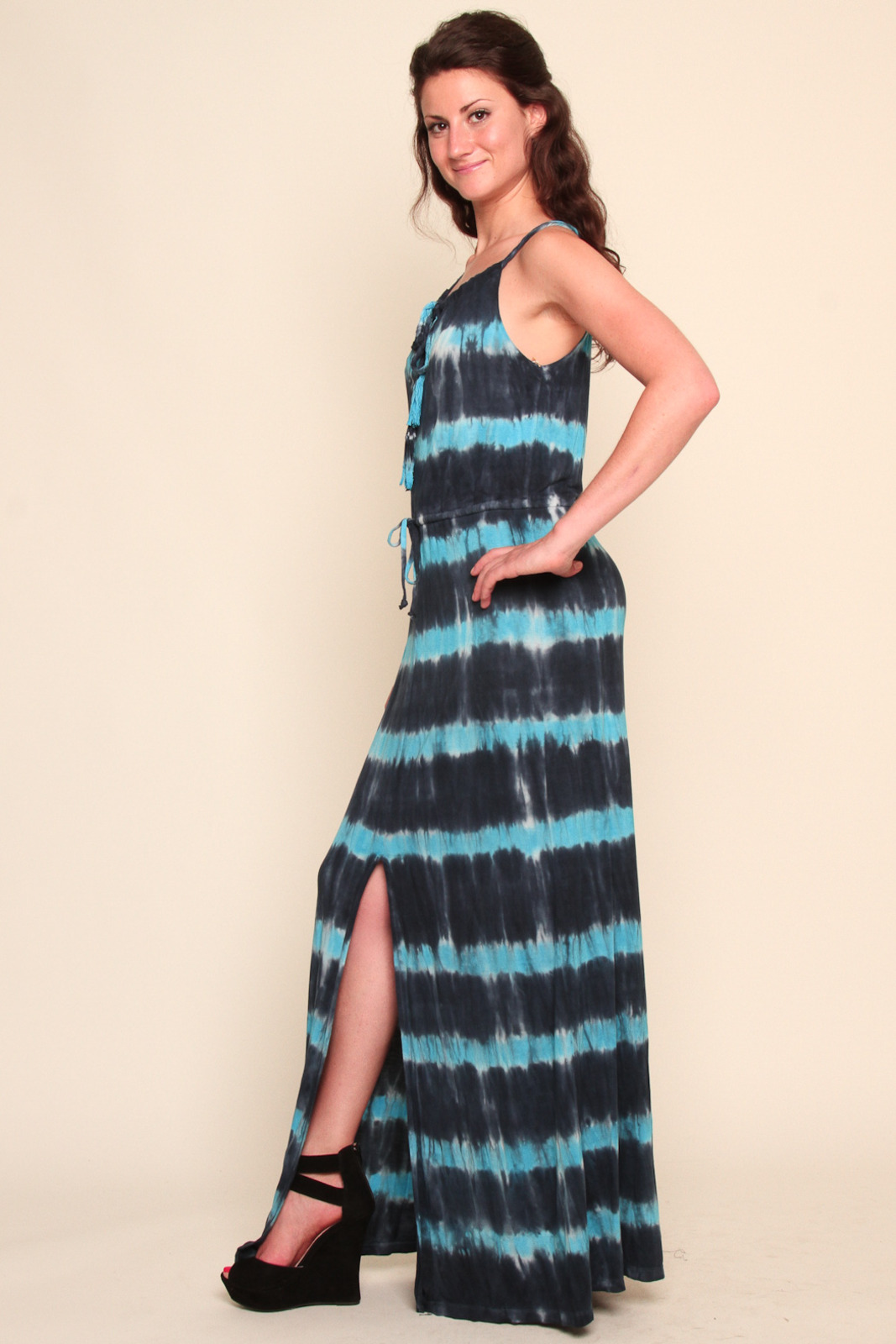 Young Fabulous & Broke Tie-Dyed Maxi Dress - Front Full Image