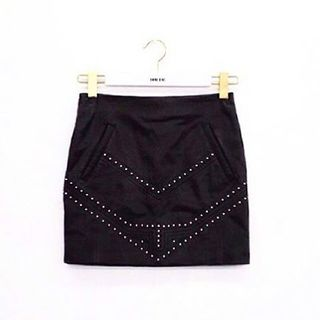 Shoptiques Studded Leather Skirt