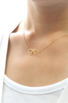 Shoptiques Product: Gold Bow Necklace