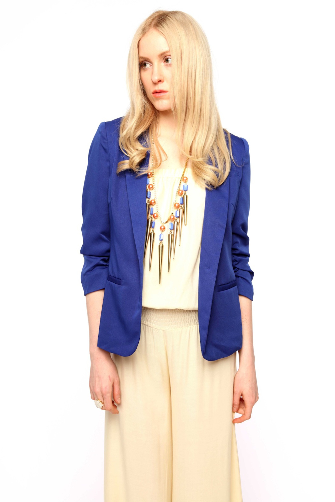 San Souci Scrunched-Sleeve Blazer - Front Cropped Image