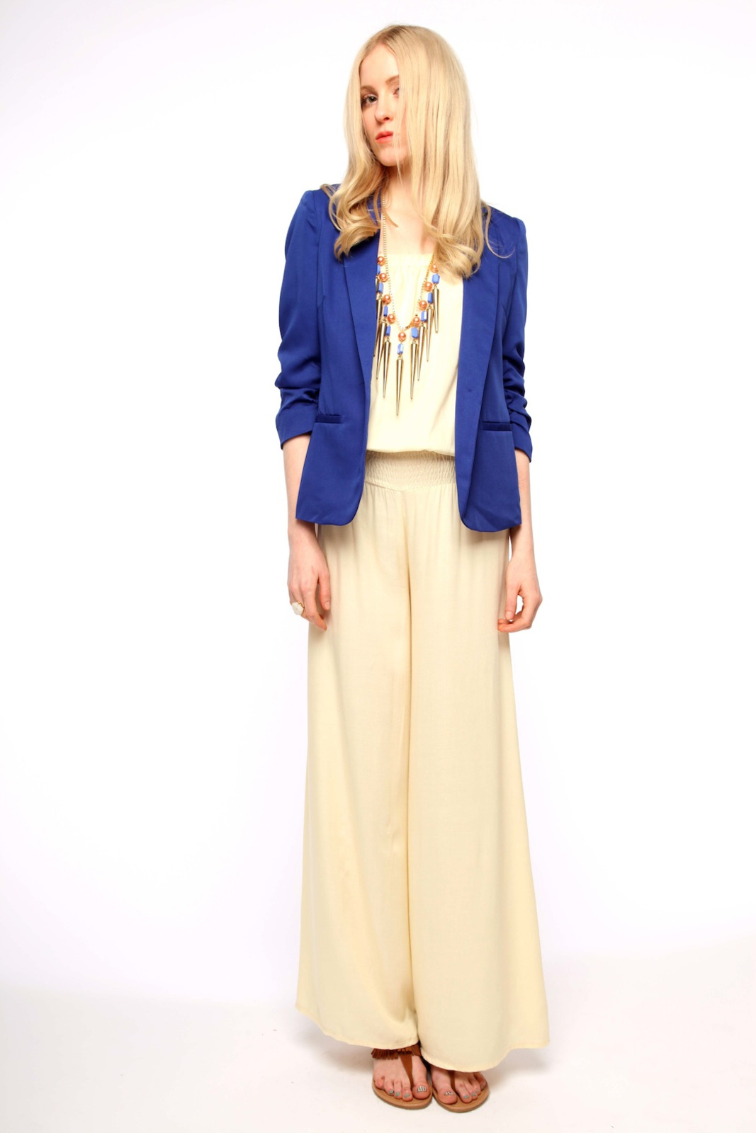 San Souci Scrunched-Sleeve Blazer - Front Full Image