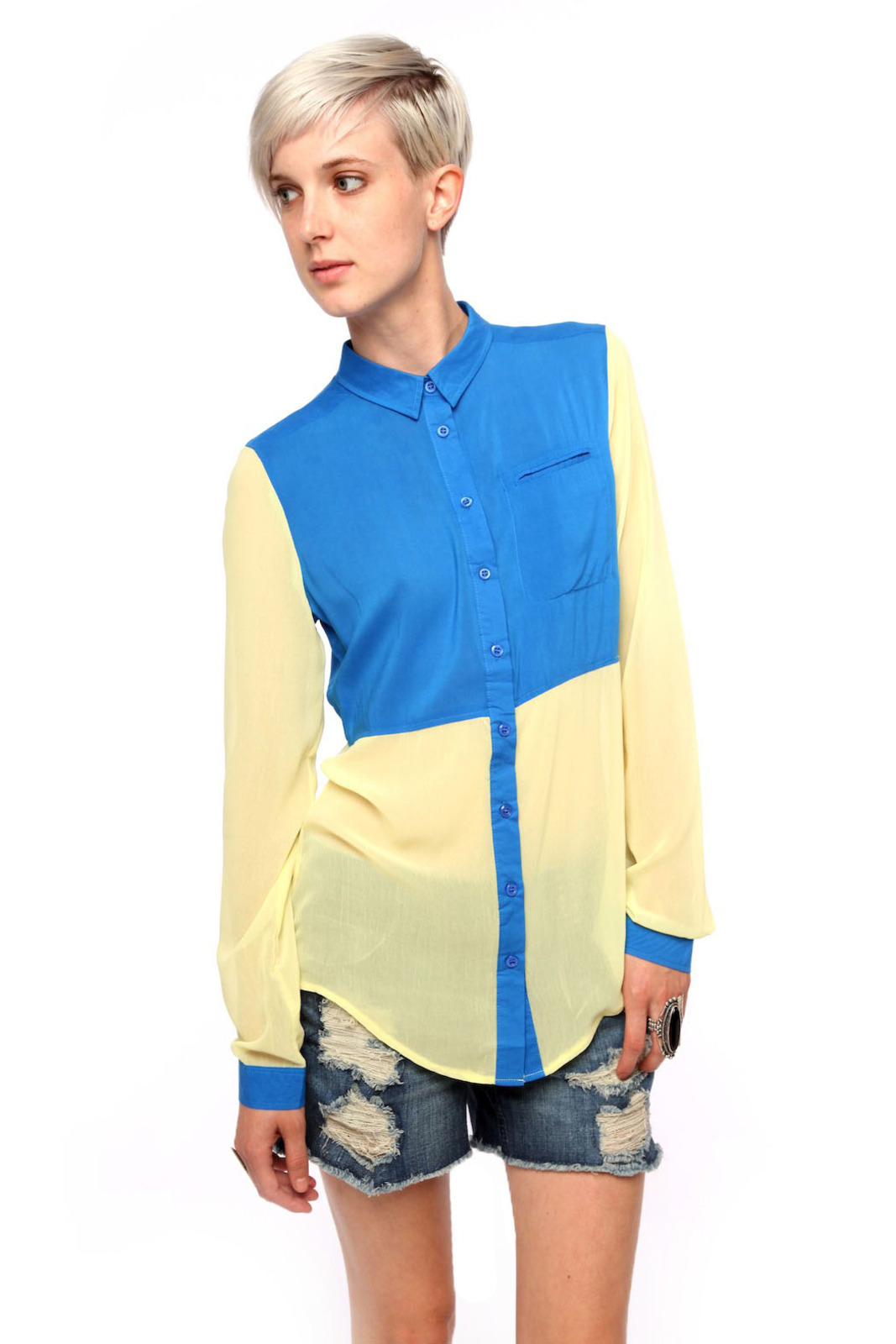 Fate Color-Block Chiffon Blouse - Front Cropped Image
