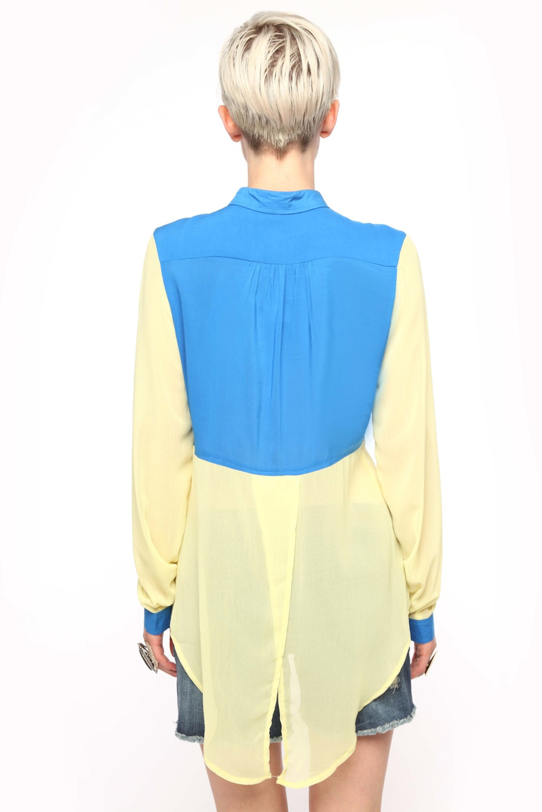 Fate Color-Block Chiffon Blouse - Back Cropped Image