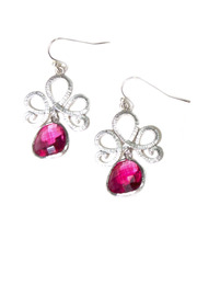 Shoptiques Product: Silver and Gemstone Drop Earrings