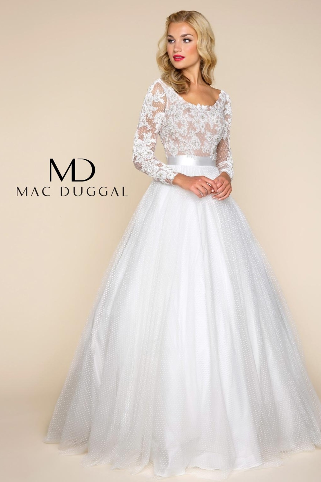 Mac Duggal Long Sleeve Gown - Front Cropped Image
