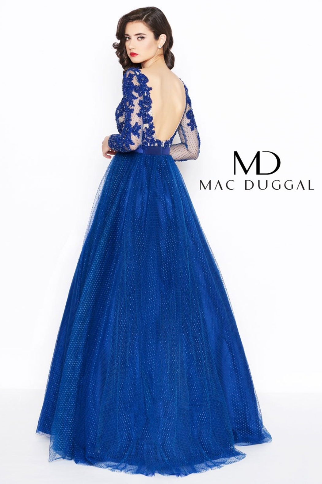 Mac Duggal Long Sleeve Gown - Front Full Image