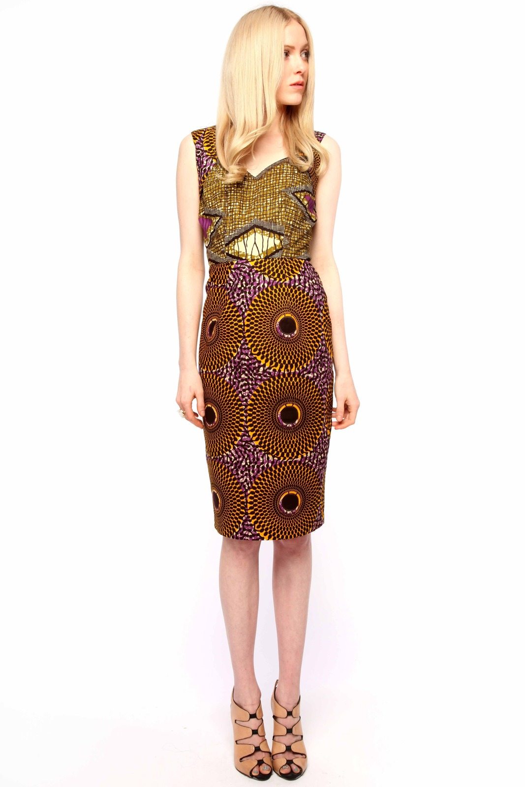 Boxing Kitten Printed Sheath Dress - Front Full Image