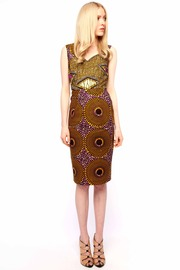 Boxing Kitten Printed Sheath Dress - Front full body