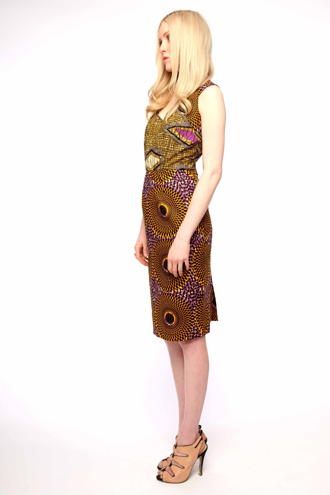 Boxing Kitten Printed Sheath Dress - Side Cropped Image