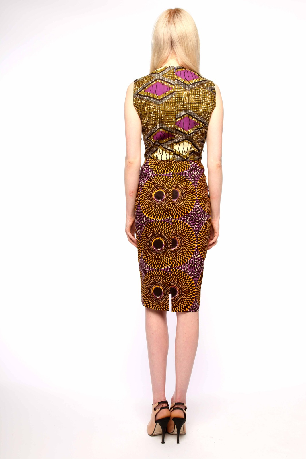 Boxing Kitten Printed Sheath Dress - Back Cropped Image
