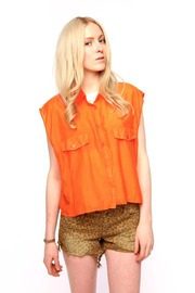 Shoptiques Product: Cropped Silk-Cotton Shirt