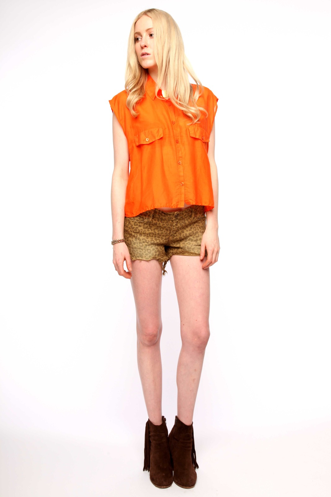 Cheap Monday Cropped Silk-Cotton Shirt - Front Full Image