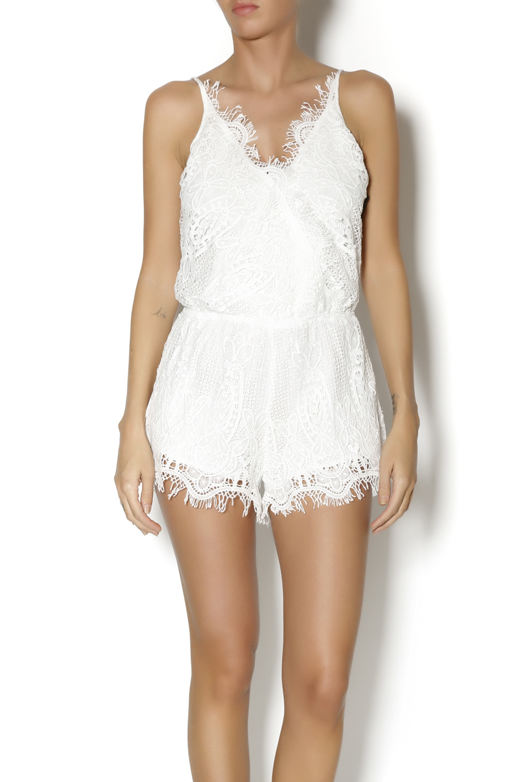 Ruby and Jenna White Lace Romper from Manhattan — Shoptiques