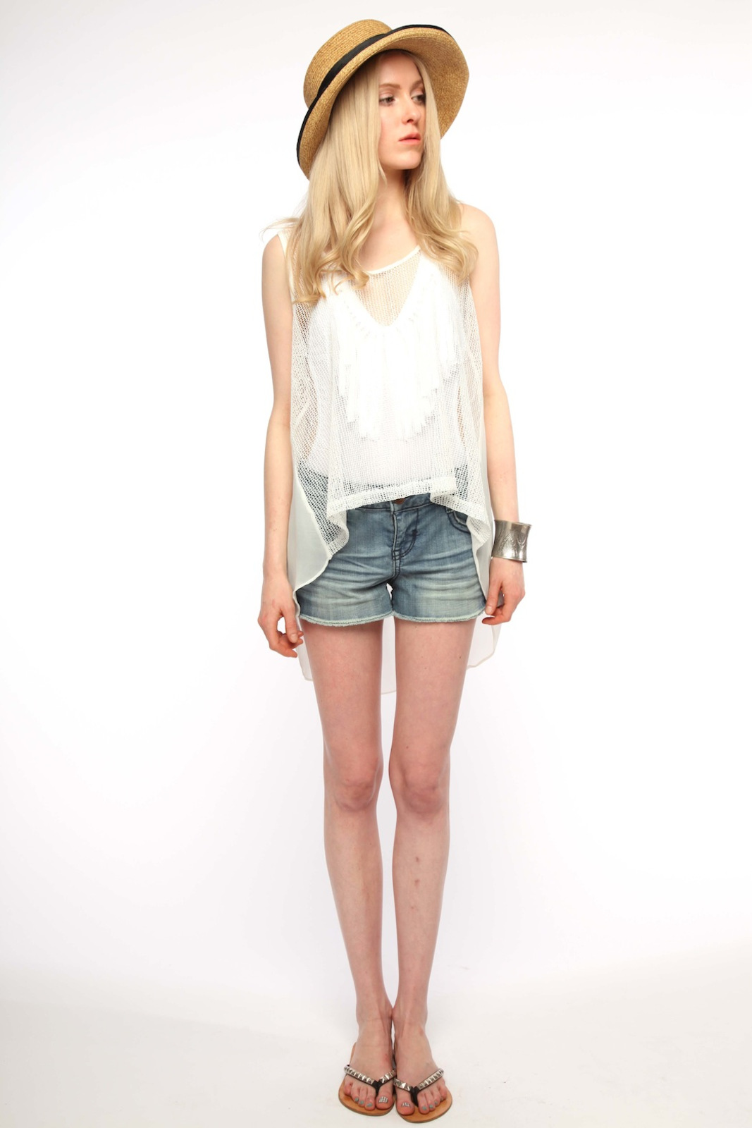 Cecico Mesh Front Blouse - Front Full Image