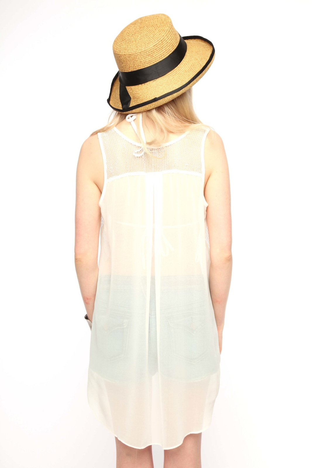 Cecico Mesh Front Blouse - Back Cropped Image