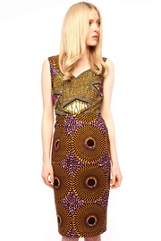 Boxing Kitten Printed Sheath Dress - Front cropped