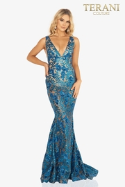 Terani Couture Mermaid V-Neck Gown - Front cropped